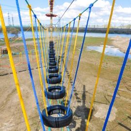 Rope park on artificial poles in Arkhangelsk